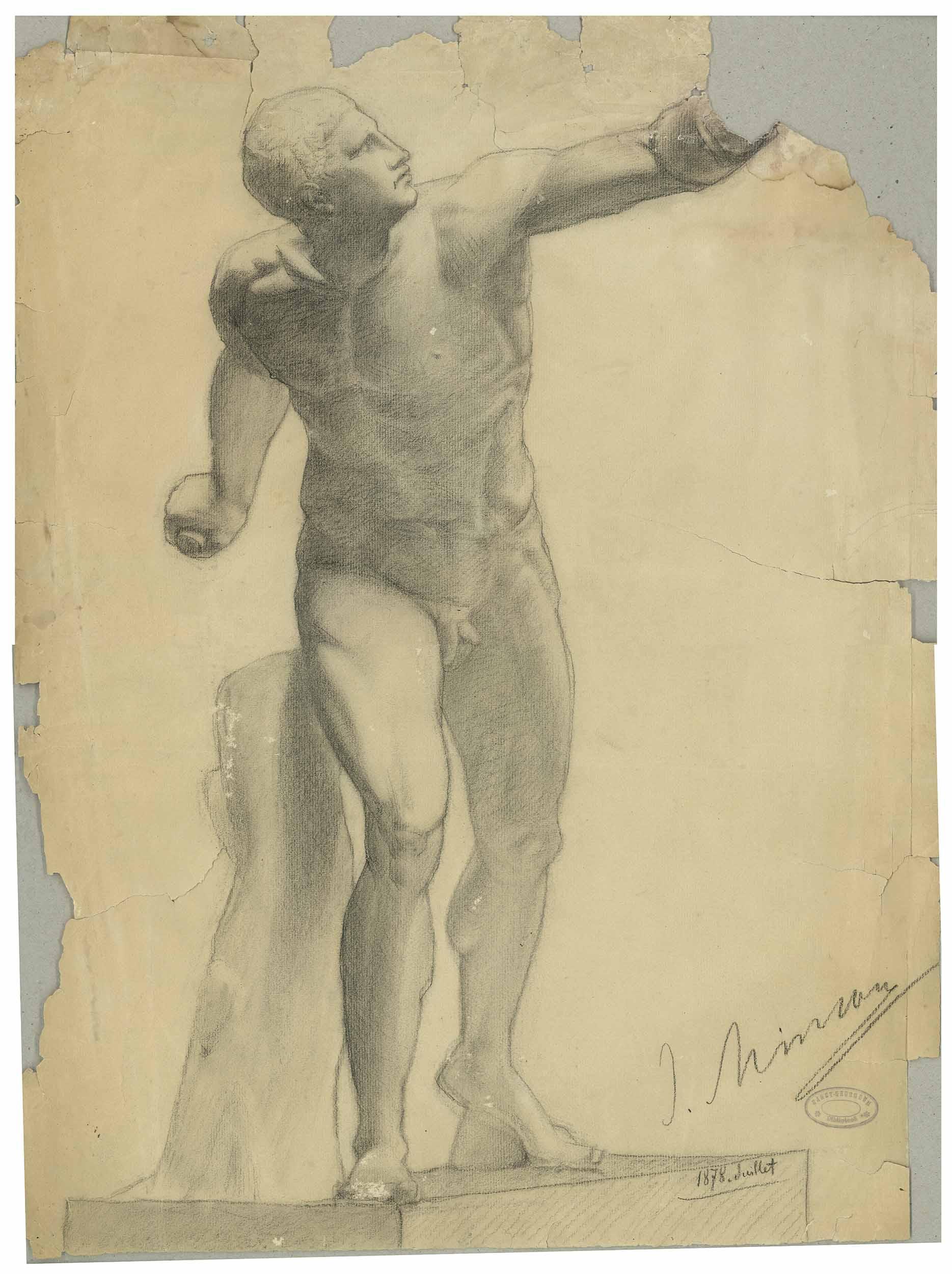 Studiu de nud, gladiator (după Gladiatorul din col. Borghese)