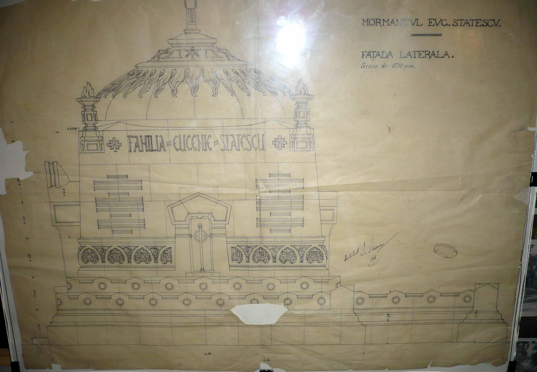 Proiect pentru Mormântul lui Eugen Stătescu, faţada laterală