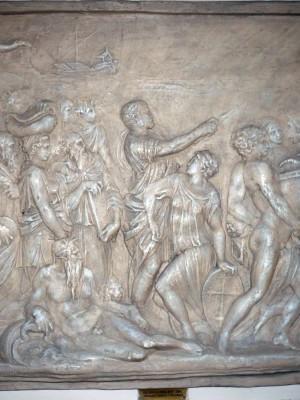 Basorelief de Renaştere italiană Trecerea evreilor prin Marea Roşie – Michelangelo Buonarotti (Copie în gips)