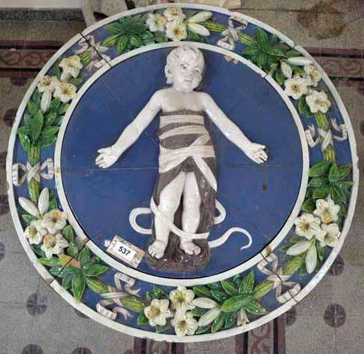 Medalion cu copilul Iisus înfăşat – Andrea de la Robbia, Ospedale degli Innocenti (Copie în majolică – teracotă colorată şi smălţuită)